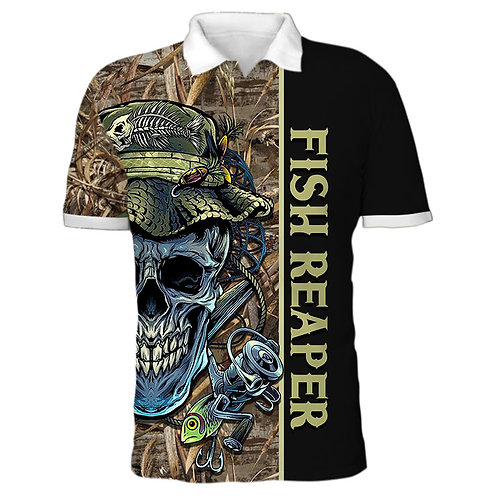 OFFICIAL-FISHING-SKULL-CAMO.POLO-SPORT-SHIRTS/CUSTOM-3D-PRINTED-THE-FISH-REAPER!