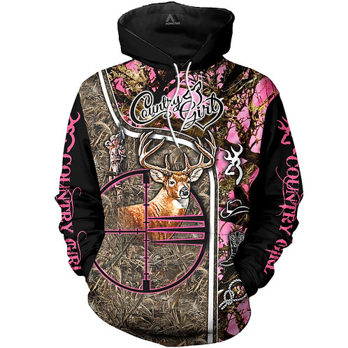 COUNTRY-GIRL-CAMO.PULLOVER-HOODIES/BOW-HUNTERS-CUSTOM-3D-GRAPHIC-PRINTED-DESIGN!