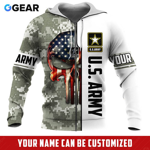 OFFICIAL-U.S.ARMY-ZIPPERED-HOODIE/NEW-CUSTOMIZE-WITH-YOUR-NAME-OR-MILITARY-UNIT!