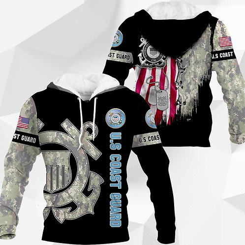 OFFICIAL-U.S.COAST-GUARD-CAMO.PULLOVER-HOODIES/CUSTOM-3D-PRINTED-FLAG & DOG-TAGS