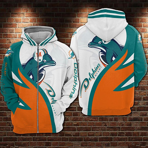OFFICIAL-N.F.L.MIAMI-DOLPHINS-ZIPPERED-HOODIE/CUSTOM-3D-GRAPHIC-PRINTED-DESIGNED