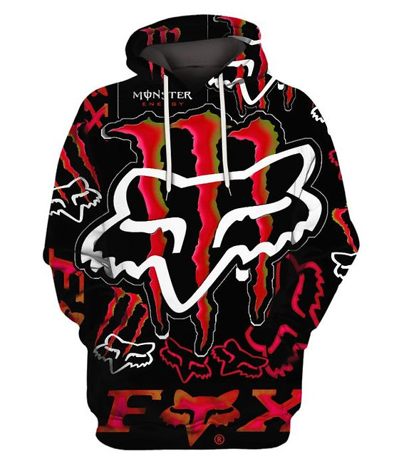 OFFICIAL-FOX-RACING & MONSTER-ENERGY-PULLOVER-HOODIES/NEON-3D-GRAPHIC-PRINTED!!