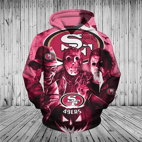 *N.F.L.SAN-FRANCISCO-49ERS/CLASSIC-HALLOWEEN-HORROR-MOVIE-CHARACTERS-3D-HOODIES*