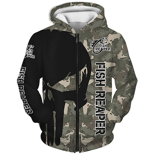 OFFICIAL-PUNISHER-SKULL-CAMO.ZIPPERED-HOODIES/CUSTOM-3D-PRINTED-THE-FISH-REAPER!