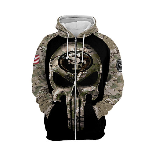 OFFICIAL-N.F.L.SAN-FRANCISCO-49ERS-CAMO.ZIPPERED-HOODIE/CUSTOM-3D-PUNISHER-SKULL