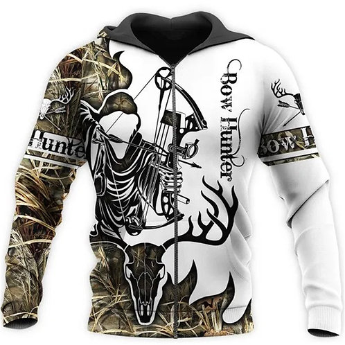 BOW-HUNTERS-CAMO.ZIPPERED-HOODIE/NEW-CUSTOM-3D-GRIM-REAPER-CAMO. & WHITE-DESIGN!