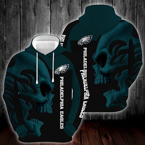 OFFICIAL-N.F.L.PHILADELPHIA-EAGLES-PULLOVER-HOODIES/CUSTOM-3D-PRINT-TRIBAL-SKULL
