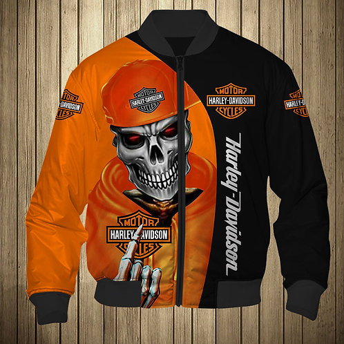 OFFICIAL-HARLEY-DAVIDSON-FLIGHT-JACKETS/CUSTOM-3D-PRINTED-HARLEY-BIKER-SKELETON!