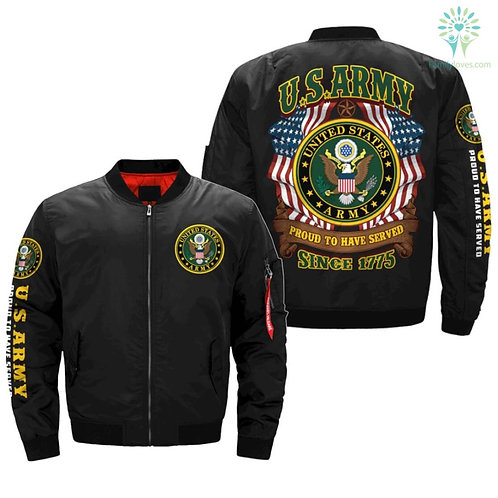 OFFICIAL-U.S.ARMY-VETERAN-PROUD-TO-HAVE-SERVED/CUSTOM-3D-PRINTED-BOMBER-JACKETS!