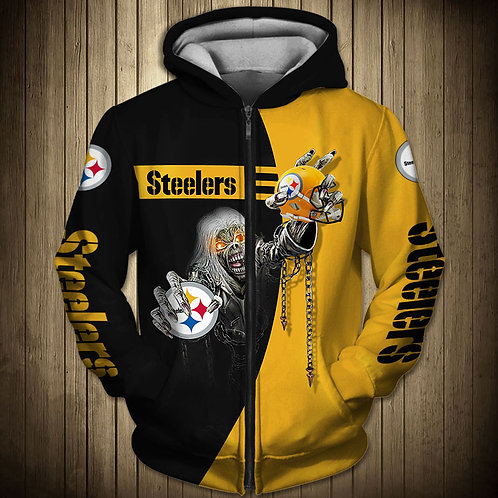 OFFICIAL-N.F.L.PITTSBURGH-STEELERS-ZIPPERED-HOODIE/CUSTOM-3D-SUDDEN-DEATH-SKULL!