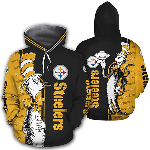 OFFICIAL-N.F.L.PITTSBURGH-STEELERS-PULLOVER-HOODIES & CAT-IN-THE-HAT-CHARACTER!!