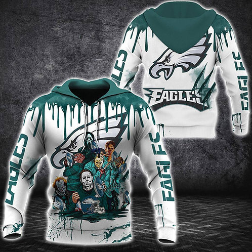 N.F.L.PHILADELPHIA-EAGLES/CLASSIC-HALLOWEEN-HORROR-MOVIE-CHARACTERS-3D-HOODIES!!