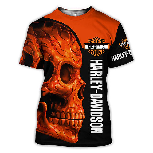 OFFICIAL-HARLEY-DAVIDSON-BIKER-RIDING-TEE/NEW-CUSTOM-3D-NEON-ORANGE-TRIBAL-SKULL