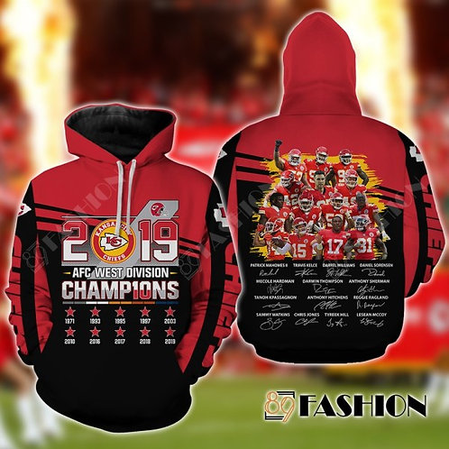 OFFICIAL-N.F.L.KANSAS-CITY-CHIEFS-PULLOVER-TEAM-HOODIES/A.F.C.DIVISION-CHAMPIONS