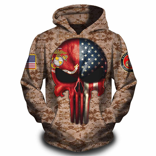 OFFICIAL-U.S.MARINES-PULLOVER-HOODIES/CUSTOM-3D-GRAPHIC-PRINTED-PUNISHER-SKULL!!