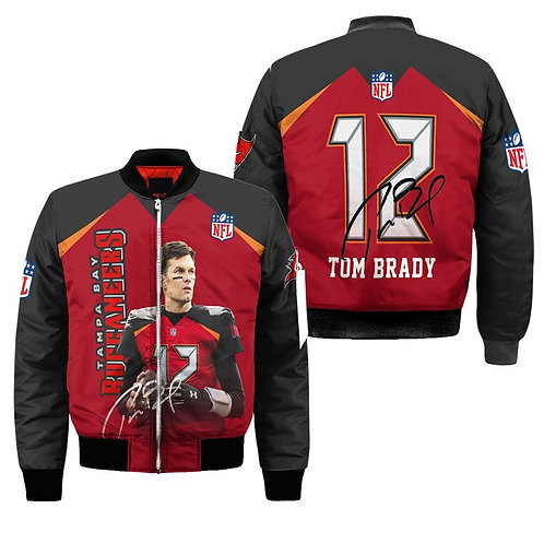 OFFICIAL-N.F.L.TAMPA-BAY-BUCCANEERS-FLIGHT-JACKETS/NEW-CUSTOM-3D-TOM-BRADY-NO.12