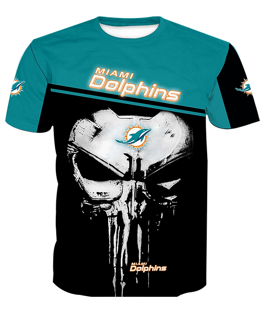 OFFICIAL-N.F.L.MIAMI-DOLPHINS-TEAM-SPORT-TEES/CUSTOM-3D-GRAPHIC-PUNISHER-SKULL!!