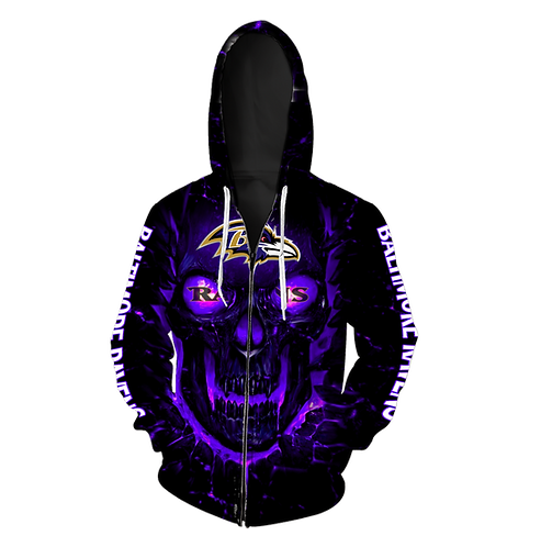 OFFICIAL-N.F.L.BALTIMORE-RAVENS-ZIPPERED-HOODIE/NEW-CUSTOM-3D-NEON-GLOWING-SKULL