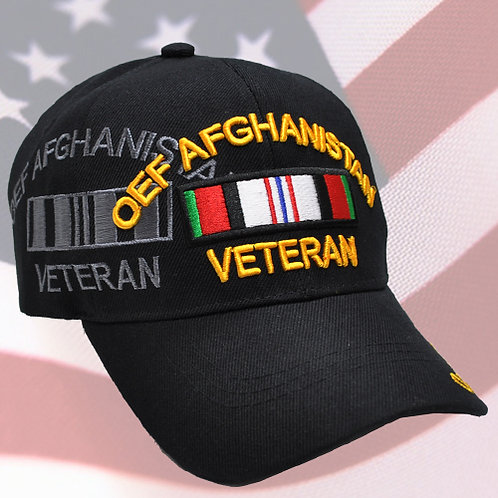OFFICIAL-AFGHANISTAN-VETERAN & OEF-WAR-COMBAT-RIBBON/NICE-CUSTOM-BLACK-MESH-HATS