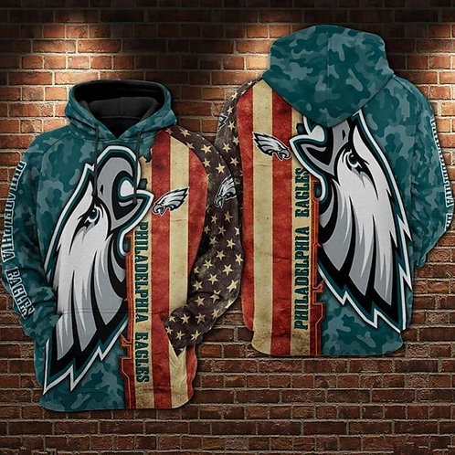 OFFICIAL-N.F.L.PHILADELPHIA-EAGLES-PULLOVER-HOODIES/CUSTOM-3D-CAMO.FLAG-DESIGN!!