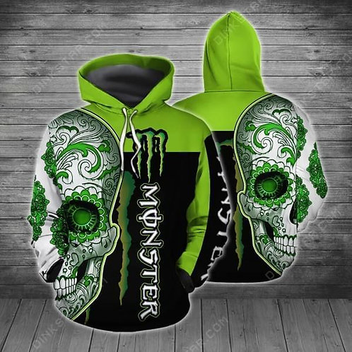OFFICIAL-MONSTER-ENERGY-PULLOVER-HOODIES/CUSTOM-3D-GRAPHIC-PRINTED-SUGAR-SKULL!!