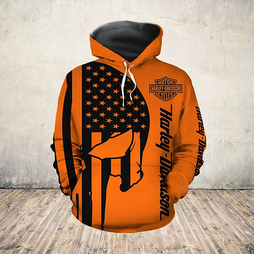 OFFICIAL-HARLEY-DAVIDSON-MOTORCYCLE-PULLOVER-HOODIE/NEW-3D-CUSTOM-PUNISHER-SKULL