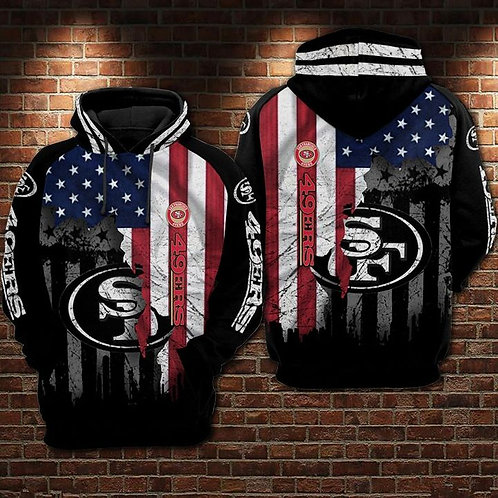 OFFICIAL-N.F.L.SAN-FRANCISCO-49ERS-PULLOVER-HOODIES/CUSTOM-3D-PATRIOTIC-DESIGN!!