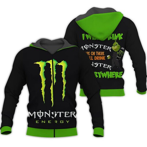 OFFICIAL-MONSTER-ENERGY-ZIPPERED-HOODIE/CUSTOM-3D-GRAPHIC-PRINTED-MONSTER-GRINCH