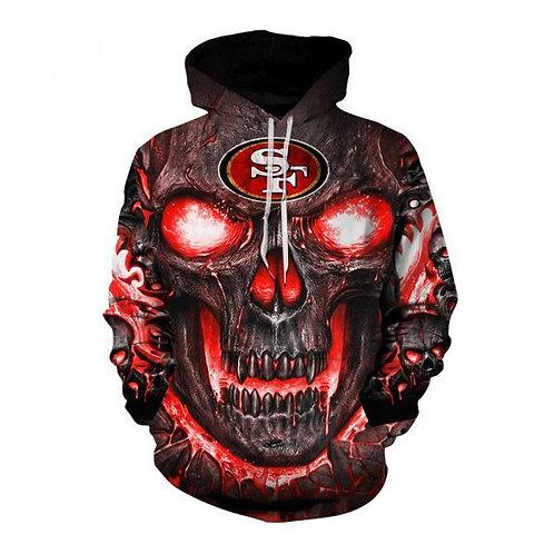 *OFFICIAL-N.F.L.SAN-FRANCISCO-49ERS-TEAM-ZIPPERED-HOODIES/CUSTOM-3D-FIREY-SKULL*