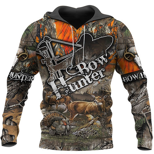 BOW-HUNTERS-CAMO.PULLOVER-HOODIE/DETAILED-CUSTOM-3D-GRAPHIC-PRINTED-CAMO.DESIGN!