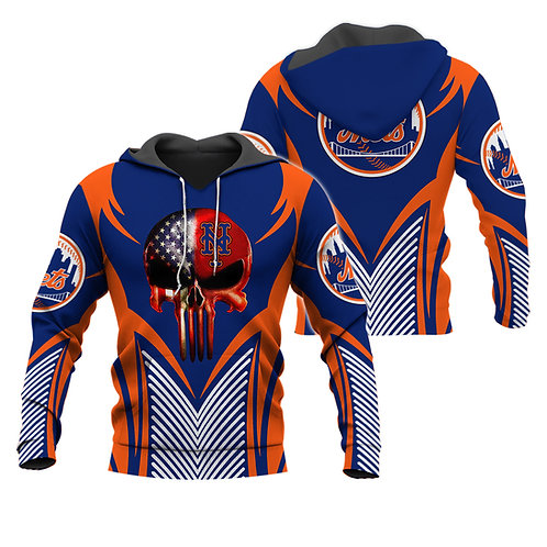 OFFICIAL-M.L.B.NEW-YORK-METS-PULLOVER-HOODIES/NEW-CUSTOM-3D-FLAG-PUNISHER-SKULL!