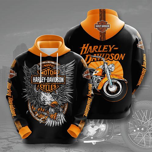 HARLEY-DAVIDSON-MOTORCYCLE-BIKER-PULLOVER-HOODIE/CUSTOM-3D-PRINTED-HARLEY-LOGOS!