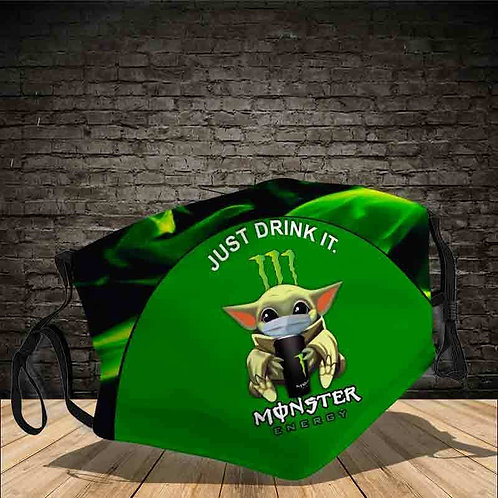 OFFICIAL-MONSTER-ENERGY-LOGOS-PROTECTIVE-FACE-MASK/CUSTOM-3D-PRINT-JUST-DRINK-IT