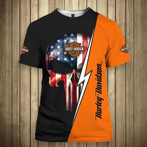 OFFICIAL-HARLEY-DAVIDSON-MOTORCYCLE-TEE-SHIRTS/NEW-CUSTOM-PUNISHER-FLAG-SKULL!!