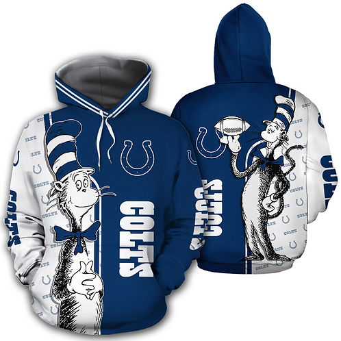 OFFICIAL-N.F.L.INDIANAPOLIS-COLTS-PULLOVER-HOODIES & CAT-IN-THE-HAT-CHARACTER!!
