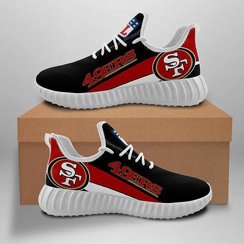 OFFICIAL-SAN-FRANCISCO-49ERS-TEAM-WHITE-SPORT-SHOES/CUSTOM-3D-DESIGN-49ERS-LOGOS