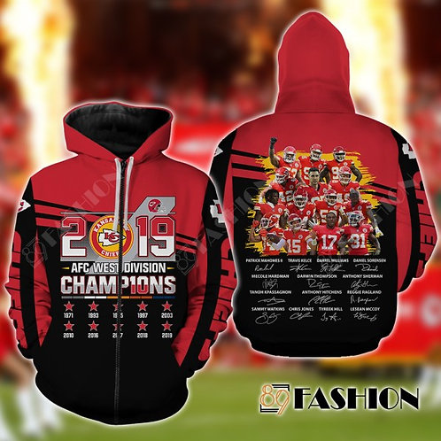 OFFICIAL-N.F.L.KANSAS-CITY-CHIEFS-ZIPPERED-TEAM-HOODIES/A.F.C.DIVISION-CHAMPIONS