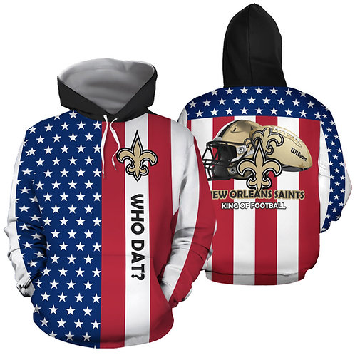 OFFICIAL-N.F.L.NEW-ORLEANS-SAINTS-PULLOVER-HOODIES/PATRIOTIC-3D-GRAPHIC-PRINTED!