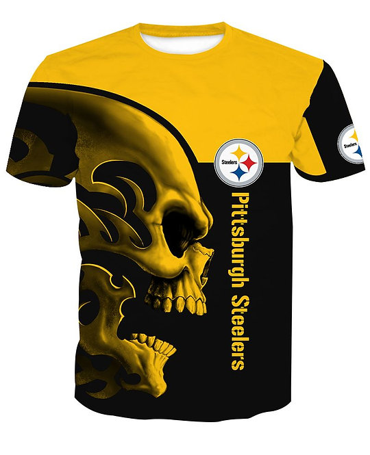 OFFICIAL-N.F.L.PITTBURGH-STEELERS-TEAM-SPORT-TEES/CUSTOM-3D-GRAPHIC-TRIBAL-SKULL