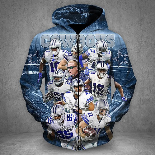 OFFICIAL-N.F.L.DALLAS-COWBOYS-ALL-STAR-TEAM/FRONT-ZIPPERED-NEW-CUSTOM-3D-HOODIES