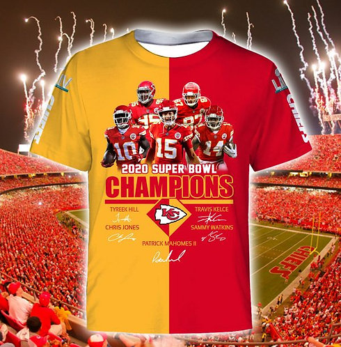 OFFICIAL-N.F.L.KANSAS-CITY-CHIEFS-TEAM-SHORT-SLEEVE-TEE/SUPER-BOWL-LIV-CHAMPIONS