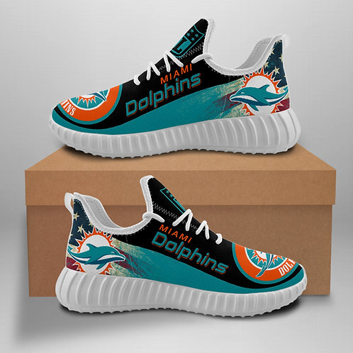 OFFICIAL-MIAMI-DOLPHINS-TEAM-WHITE-SPORTS-SHOE/CUSTOM-3D-DESIGN-DOLPHINS-LOGOS!!