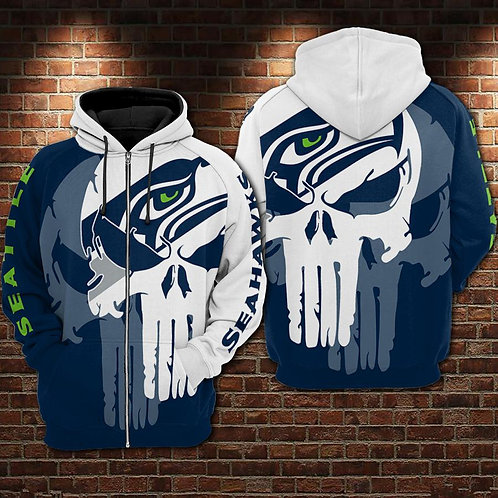 OFFICIAL-N.F.L.SEATTLE-SEAHAWKS/NEW-CUSTOM-3D-PRINTED-TEAM-COLOR-PUNISHER-SKULL