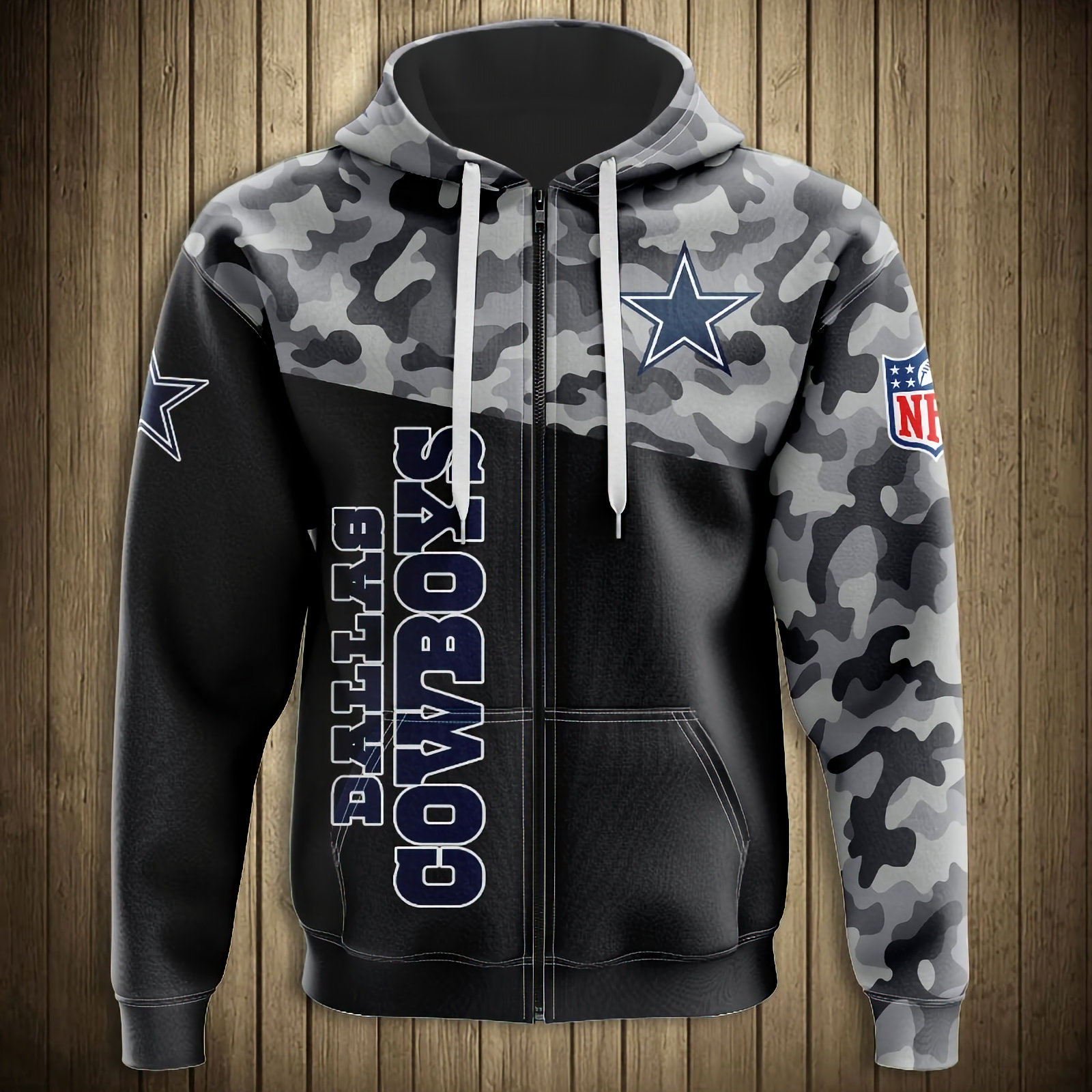 OFFICIAL N.F.L.DALLAS COWBOYS CAMO.DESIGN ZIPPERED HOODIESNEW 3D CUSTOM PRINTED