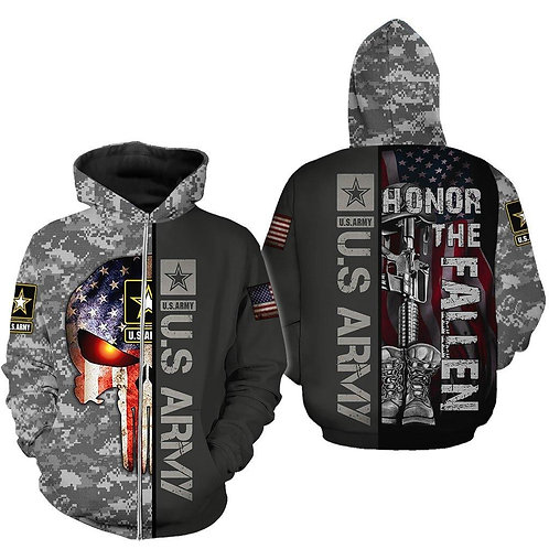 OFFICIAL-U.S.ARMY-CAMO.ZIPPERED-HOODIES/CUSTOM-3D-PRINTED-PATRIOT-PUNISHER-SKULL