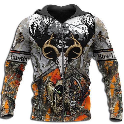 GRIMM-REAPER-CAMO.ZIPPERED-HOODIES/NEW-HUNTERS-CUSTOM-3D-GRAPHIC-PRINTED-DESIGN!
