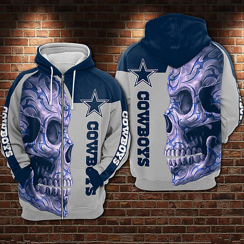 OFFICIAL-N.F.L.DALLAS-COWBOYS-ZIPPERED-HOODIES/CUSTOM-3D-PRINT-NEON-TRIBAL-SKULL