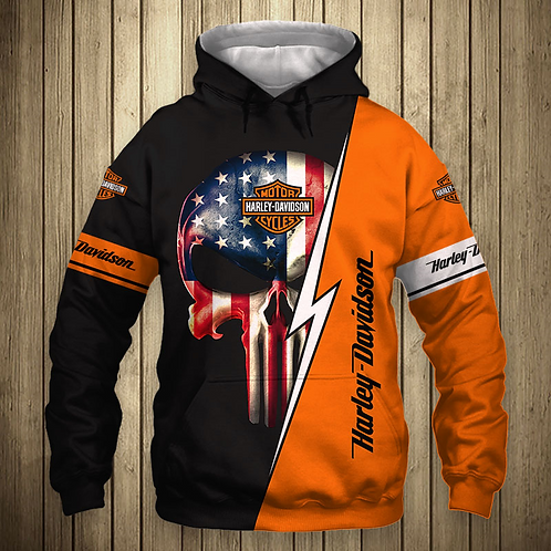 OFFICIAL-HARLEY-DAVIDSON-MOTORCYCLE-PULLOVER-HOODIE/CUSTOM-PUNISHER-FLAG-SKULL!!