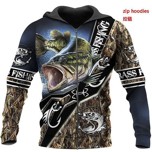 OFFICIAL-SPORT-FISHING-ZIPPERED-HOODIES/CUSTOM-3D-PRINTED-GRAPHIC-BASS-FISHING!!