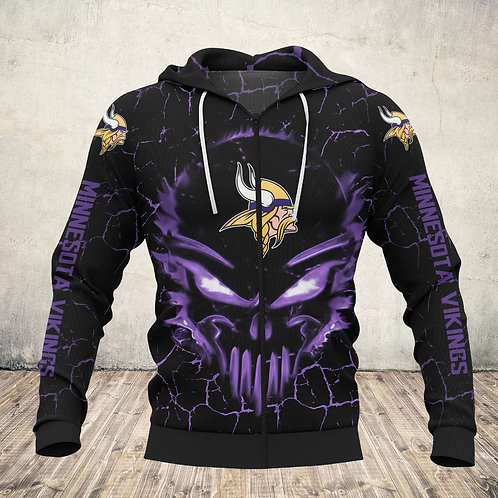 OFFICIAL-N.F.L.MINNESOTA-VIKINGS-TEAM-ZIPPERED-HOODIES/CUSTOM-3D-PUNISHER-SKULL!